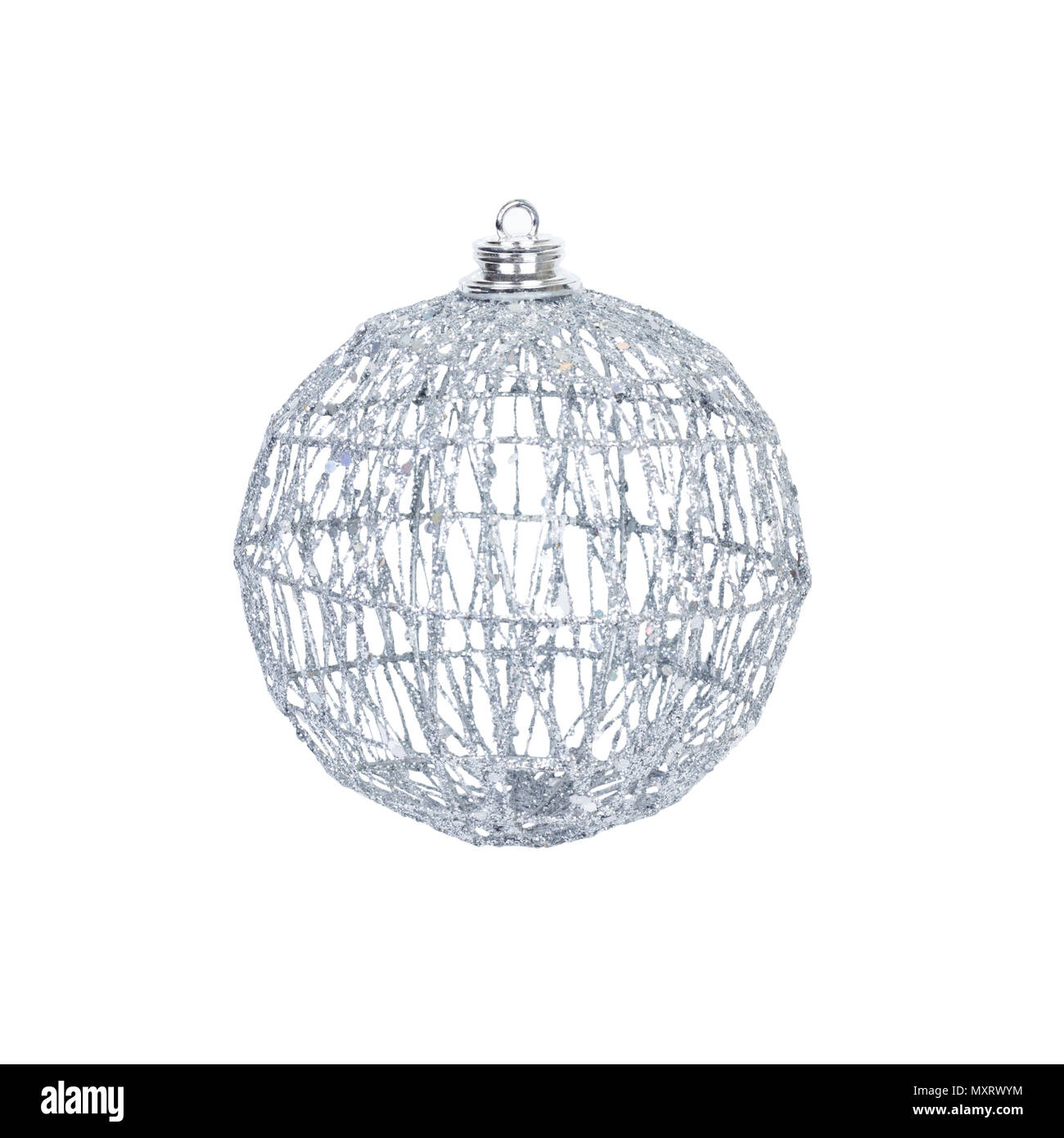 christmas toy for the christmas tree and new year beautiful silver sparkly ball isolated on the white background