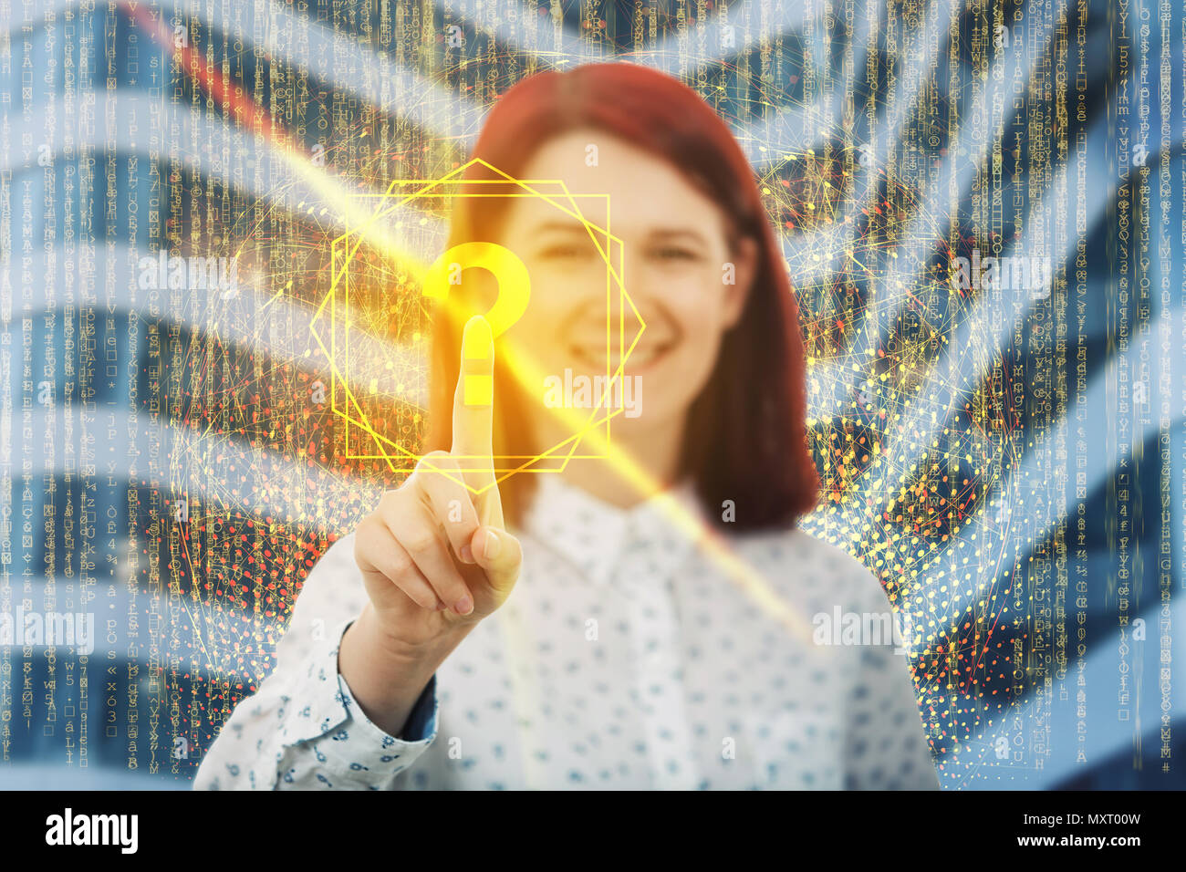 Get answer to all questions. Digital searching software as a smiling woman touch a virtual screen interface, pressing the golden interrogation mark. M - Stock Image