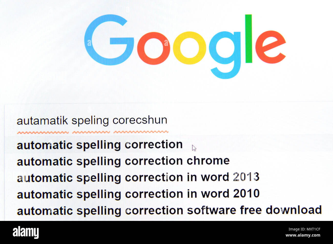 Computer screenshot: automatic spelling correction - Stock Image