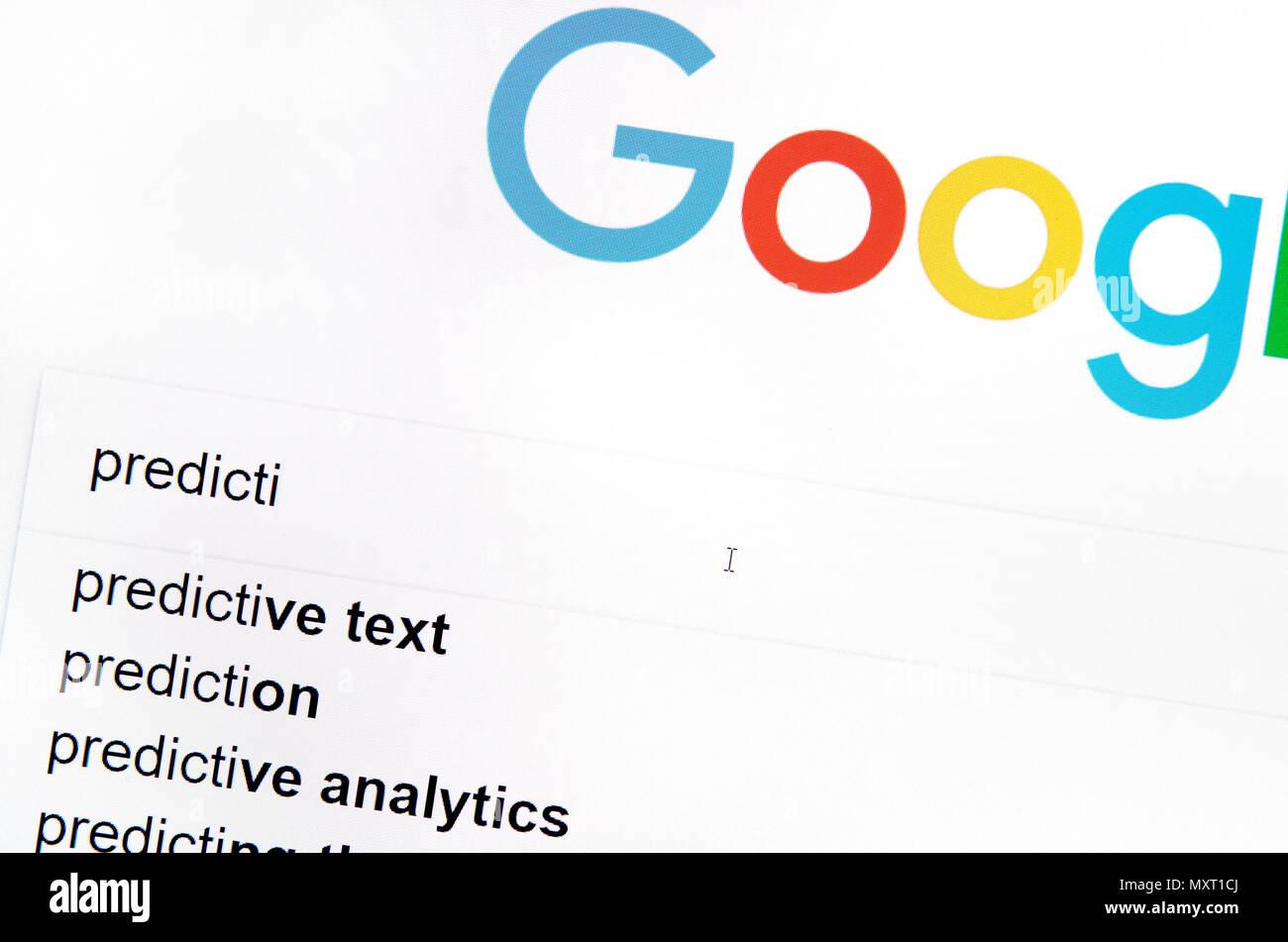 Computer screenshot: predictive text in a search box - Stock Image
