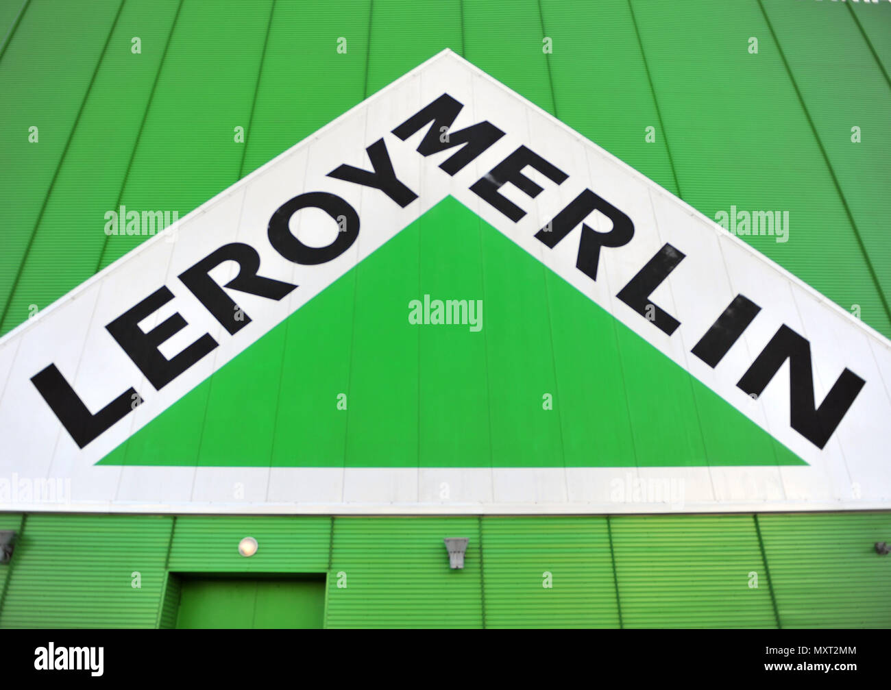 Moscow; russia may 10; 2018: logo of leroy merlin company on may
