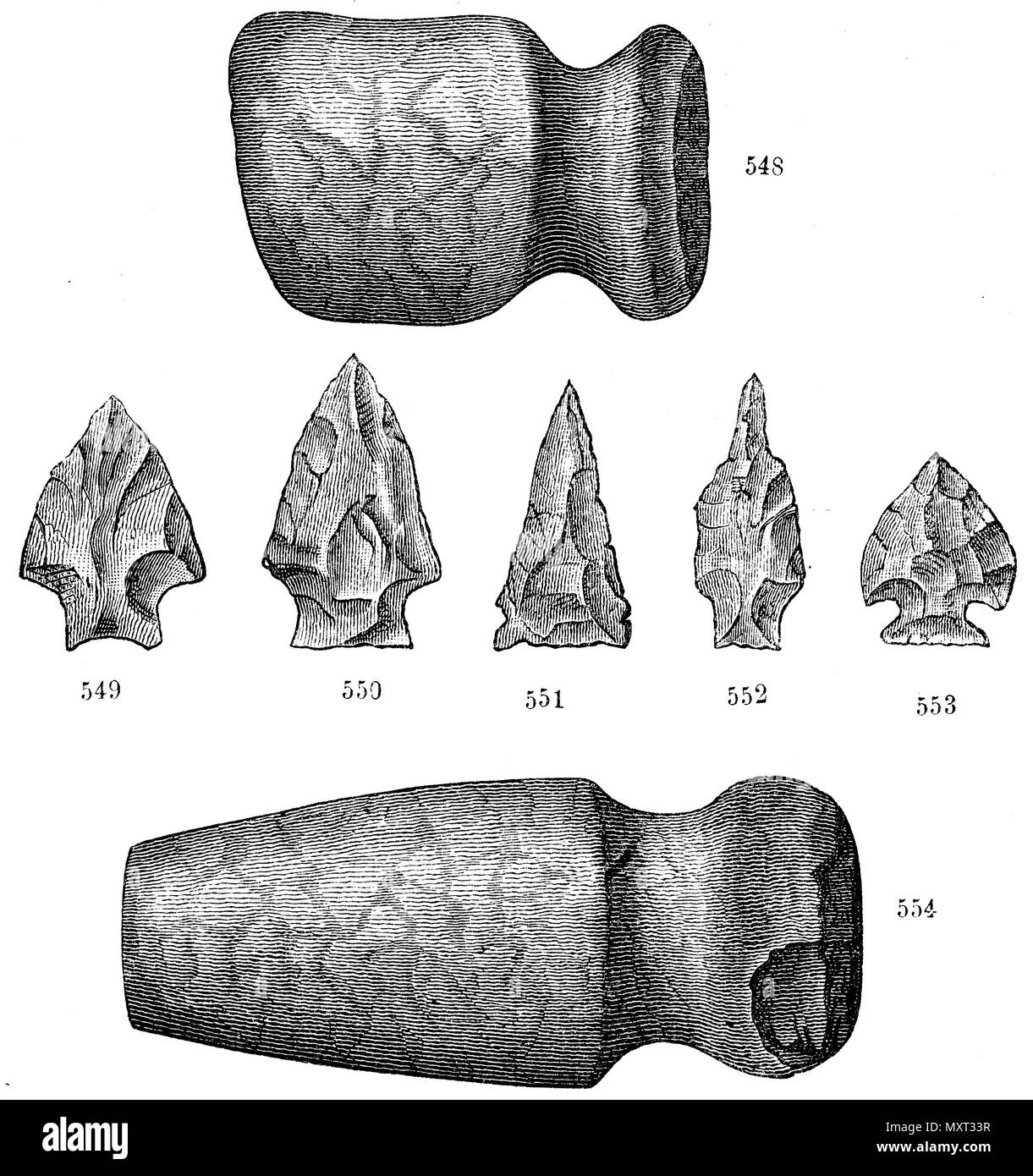 Indian stone tools from the shellfish of Keyport. 548, 554) Tomahawks, 549-553) Arrowheads and lance tips,   1874 - Stock Image