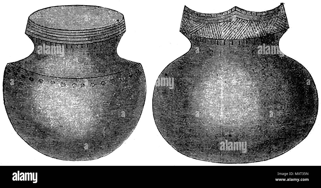 Indian burial urns by Prescott. After the publications of the 'Samithsonian Institution''',   1874 - Stock Image
