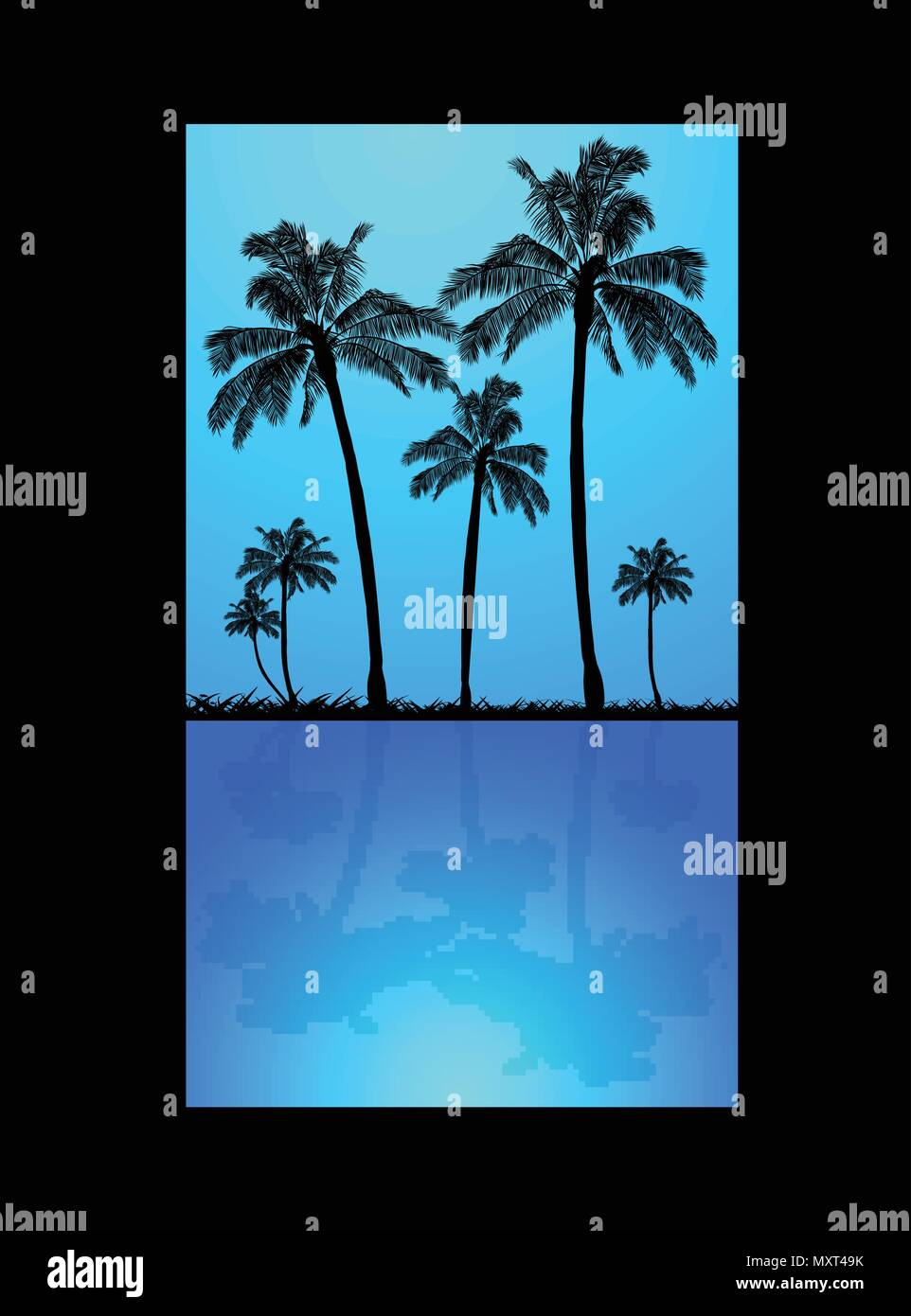 Palm Trees Silhouette and Grass Over Blue Sky and Reflection in Dark Blue Water Over Black Background - Stock Vector