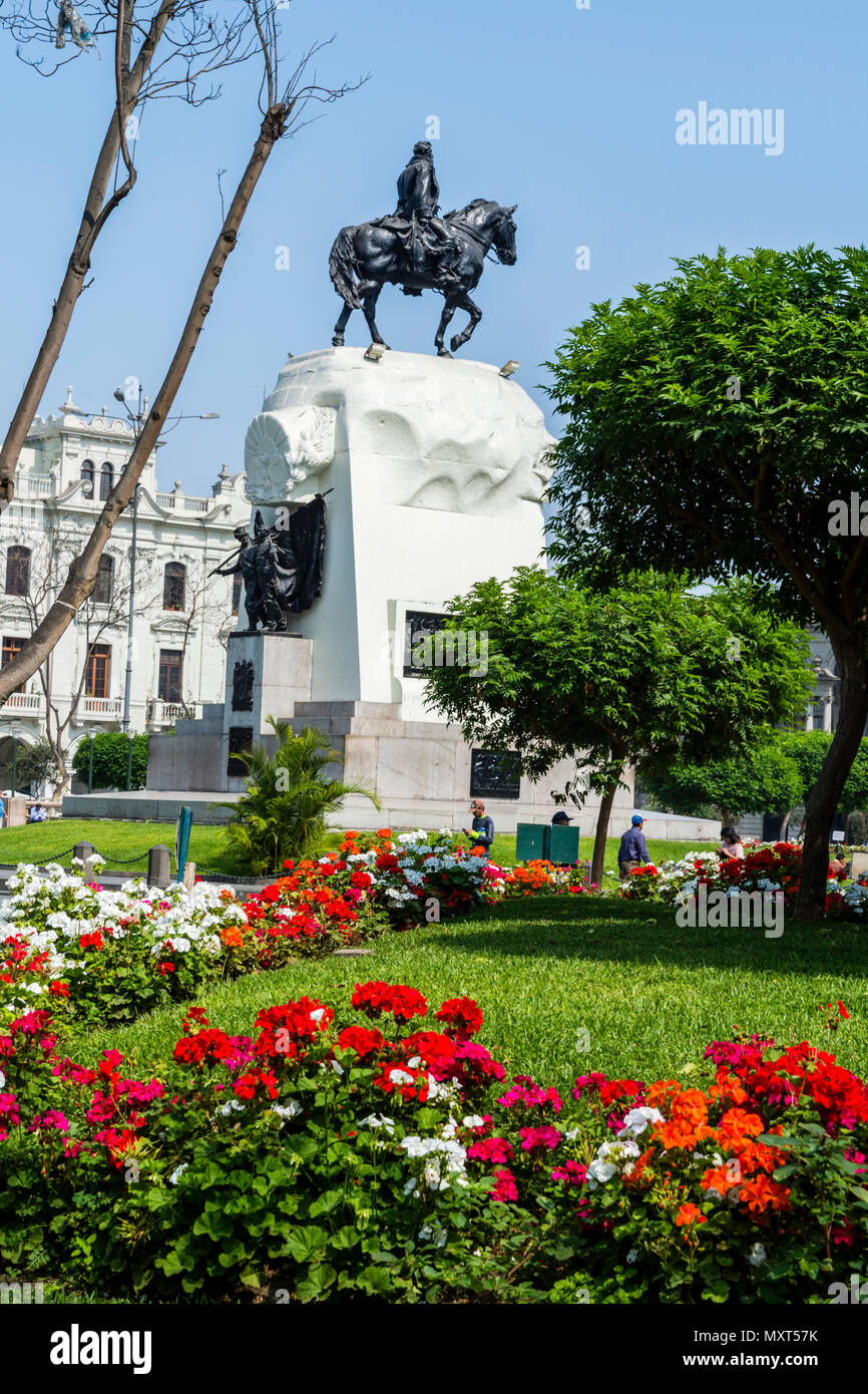 Plaza de San Martín and monument to José de San Martín.Lima city, Peru. - Stock Image