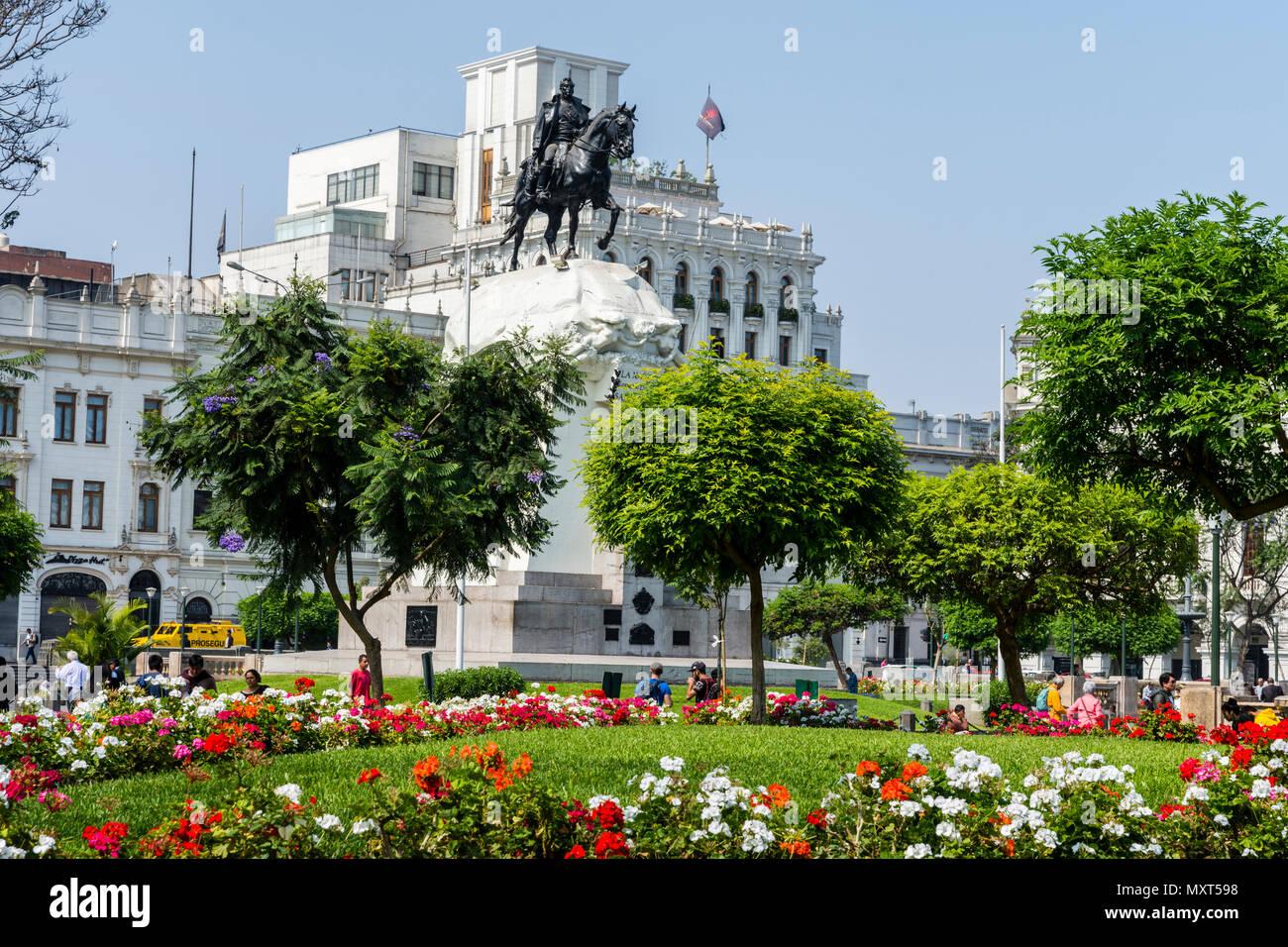 Plaza de San Martín and monument to José de San Martín.Lima city, Peru. - Stock Image