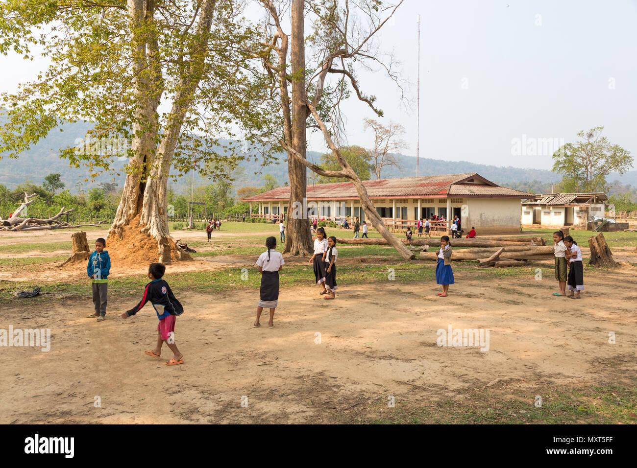 School children, Nong Ping village, Laos - Stock Image