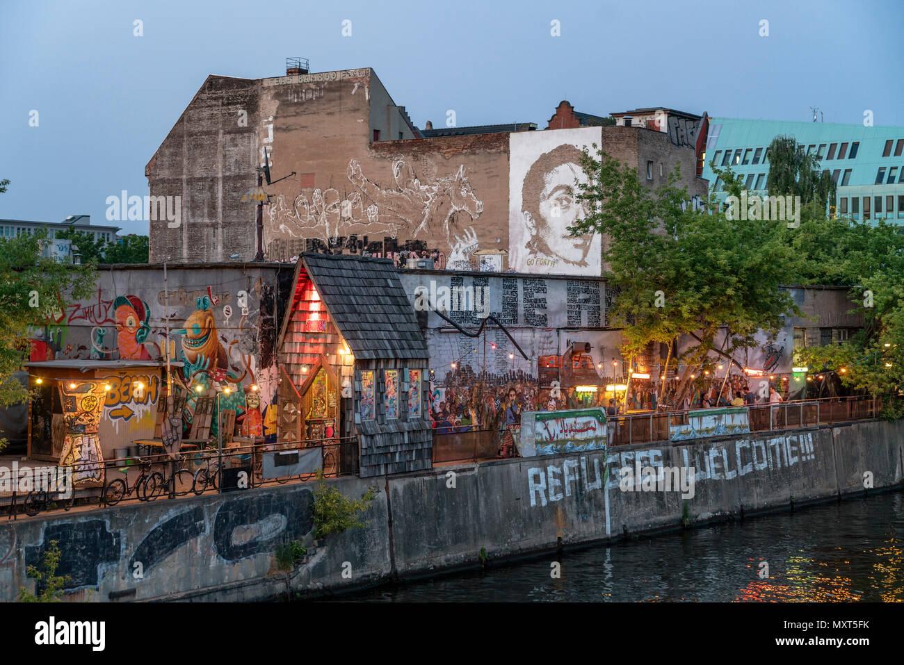 Yaam club at river Spree, Friedrichshain, Berlin, Germany - Stock Image
