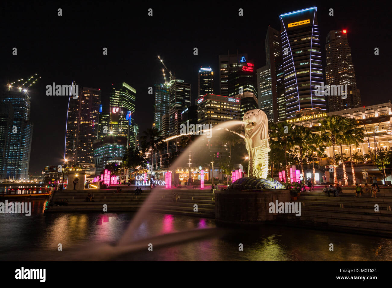 Singapore. night view of the city center. april 2010 - Stock Image