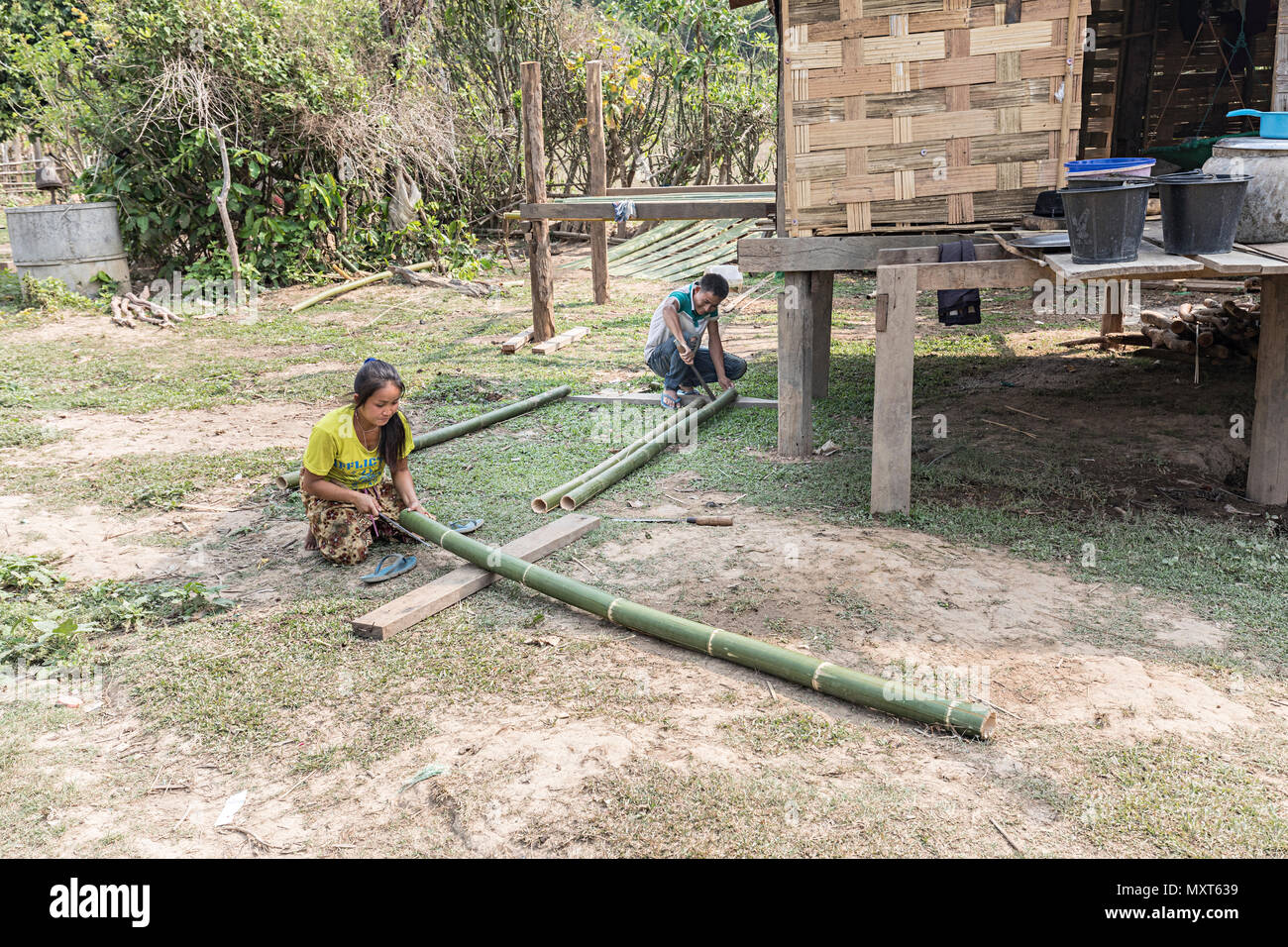 Woman and man cutting and shaping bamboo in rural village, Nong Ping, Laos - Stock Image