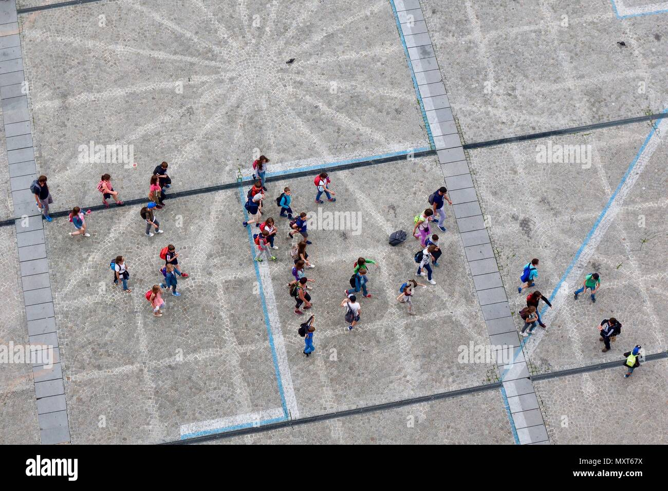 Paris, France. Hot bright sunny spring day, May 2018. School children heading for the Pompidou Centre. Stock Photo