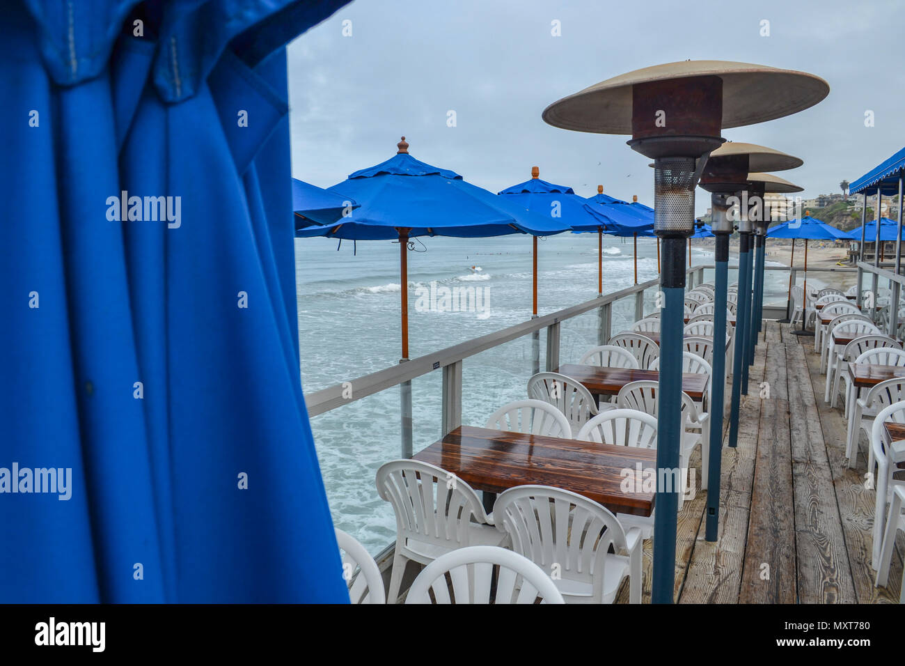 Travel to San Clemente Beach, California on a foggy morning and watch Orange County wake up on this iconic beach destination Stock Photo