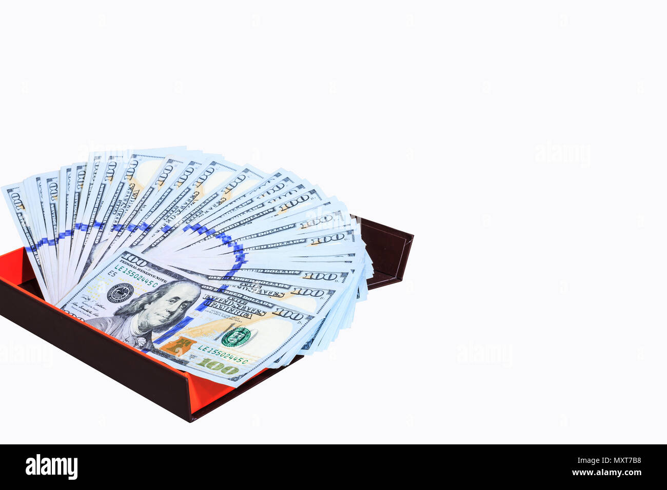 Fan of One Hundred Dollars notes in money gift box, isolated on white background with clipping path - Stock Image