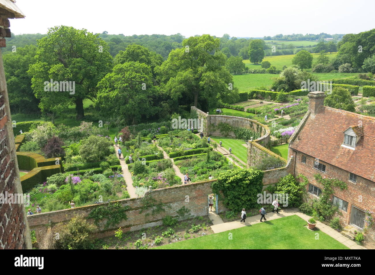 A view from the top of the tower at Sissinghurst Castle Garden, the National Trust property that was the home of Vita Sackville-West and her husband - Stock Image
