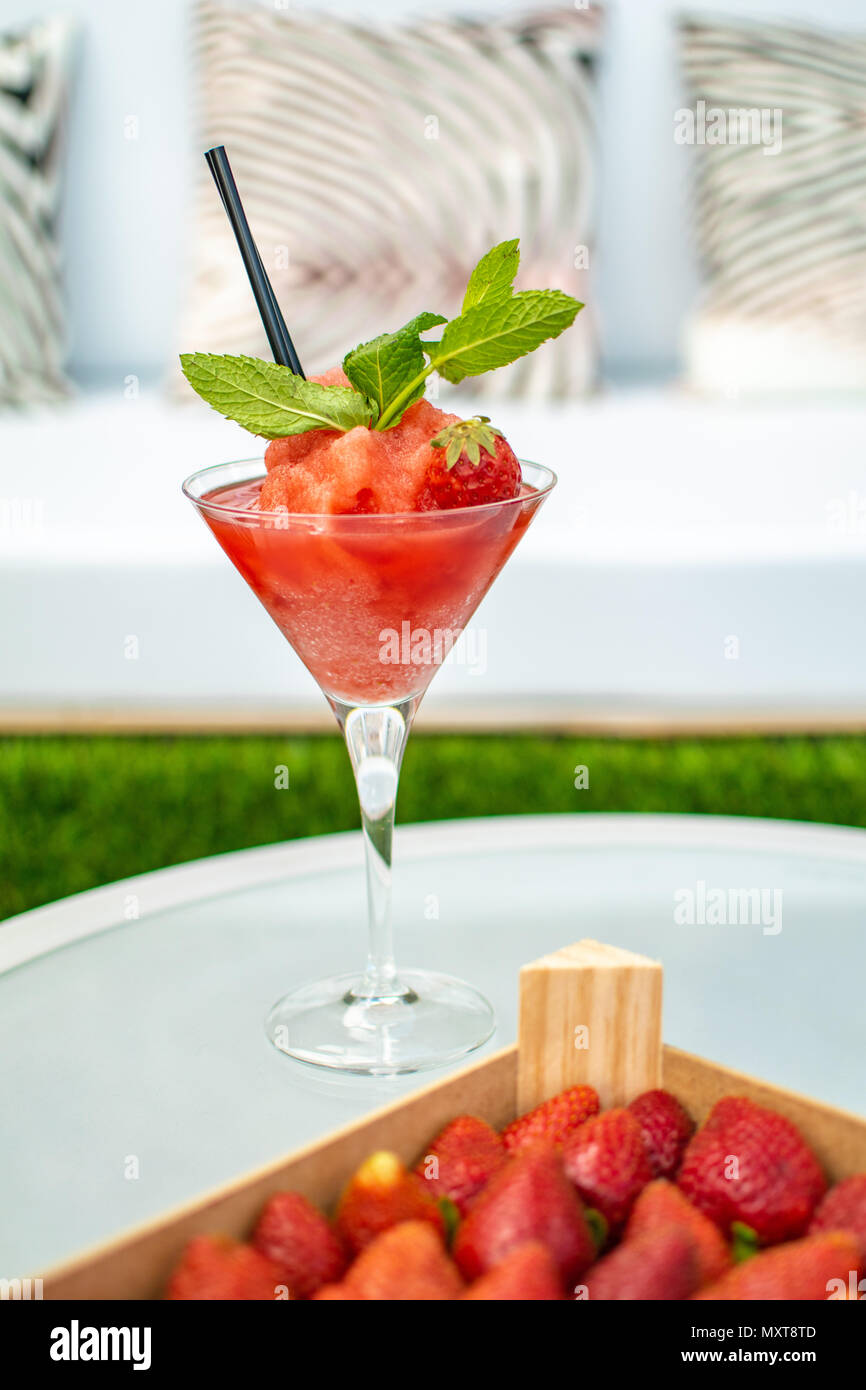 a frozen strawberry daquiri cocktail - Stock Image