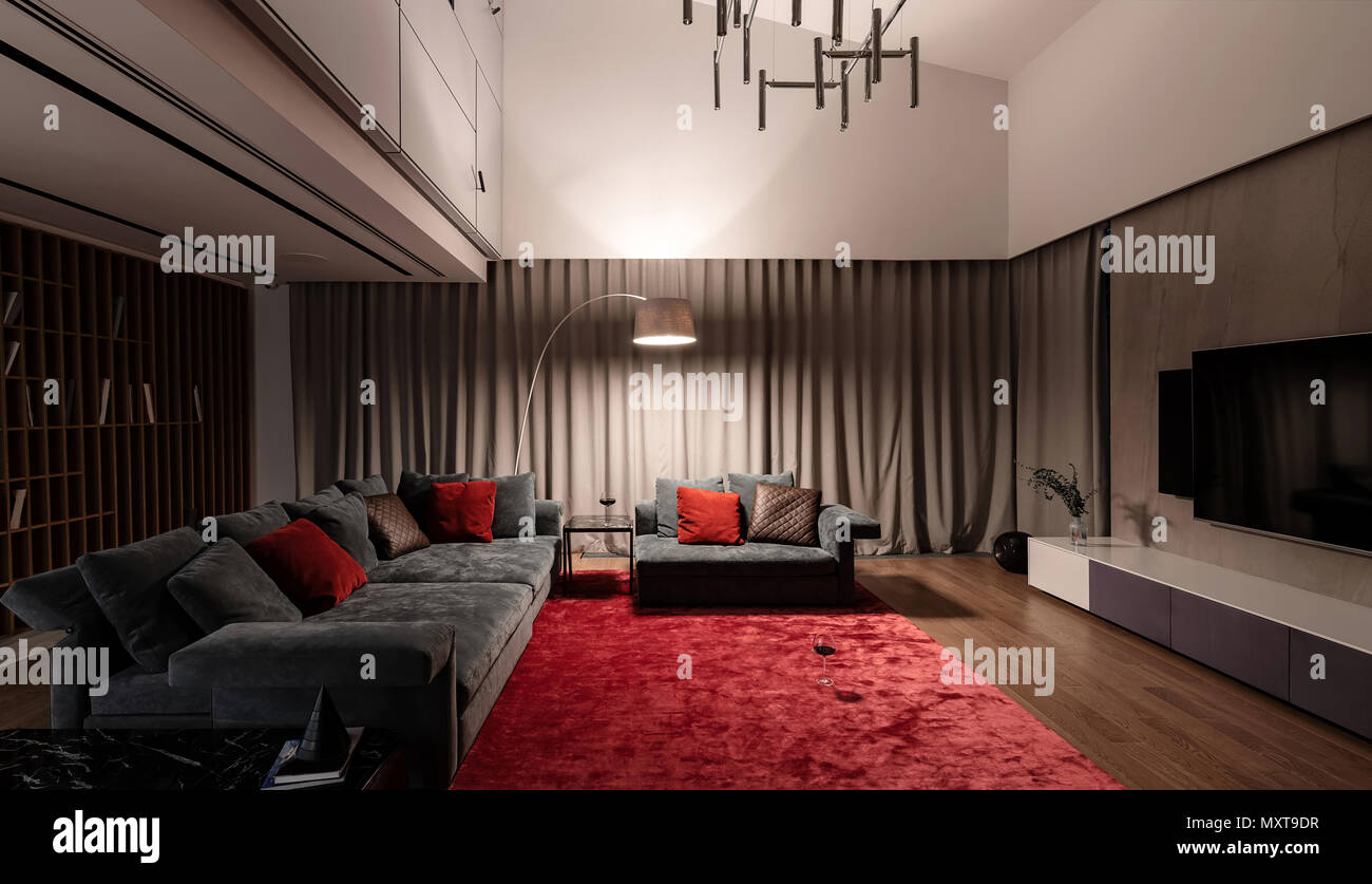 Nice Luminous Modern Room With Light Walls And A Parquet With A Red Carpet On A Floor There Is A Sofa And Armchair With Pillows Small Tables Wooden Stock Photo Alamy