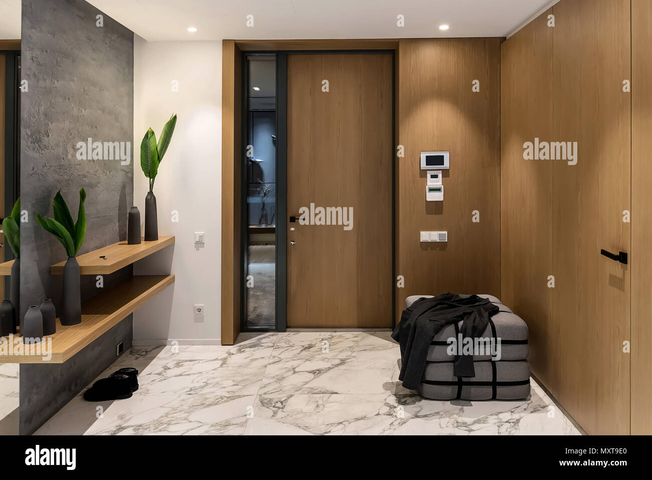 Luminous Corridor With An Entrance Door In A Modern Interior With