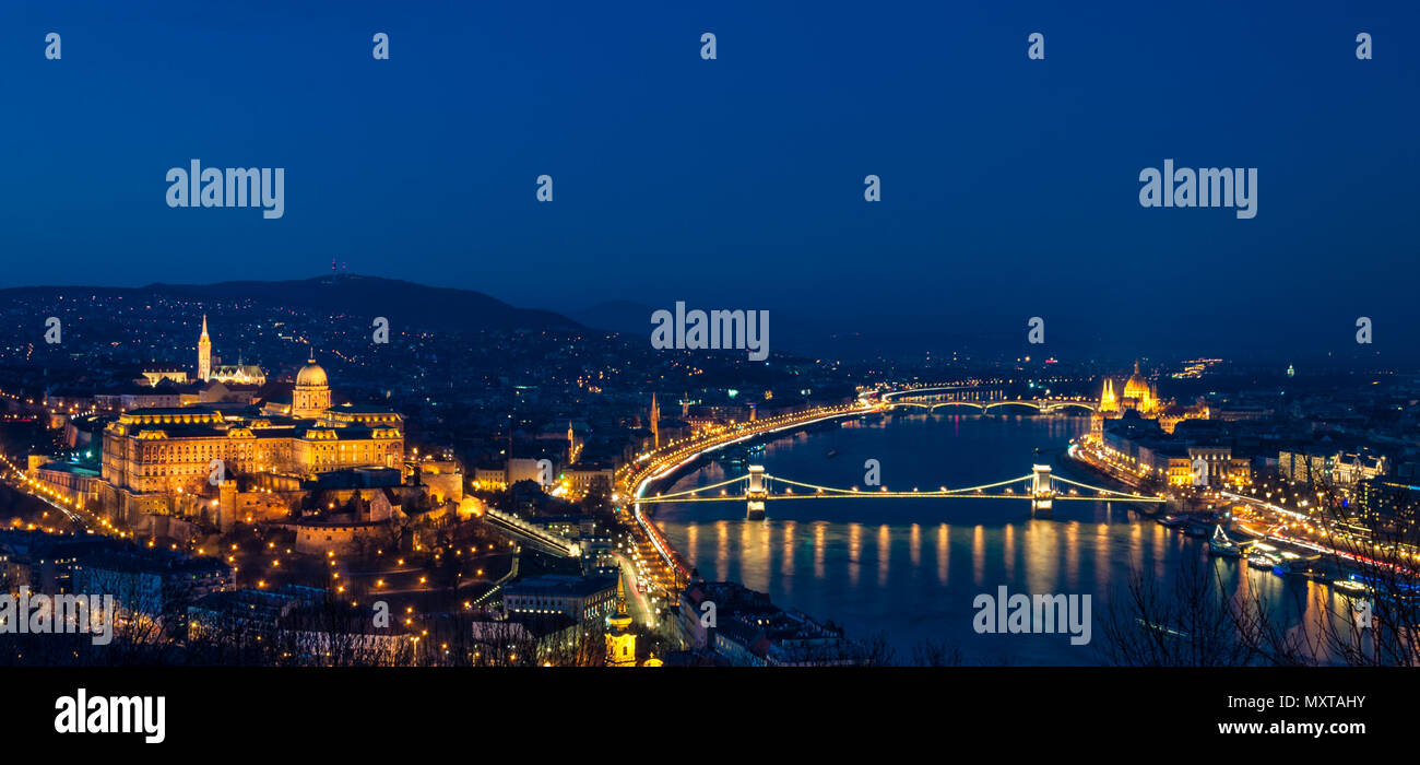 The panorama of Budapest with the Royal Castle, River Danube, Chain Bridge, and Parliament building. - Stock Image