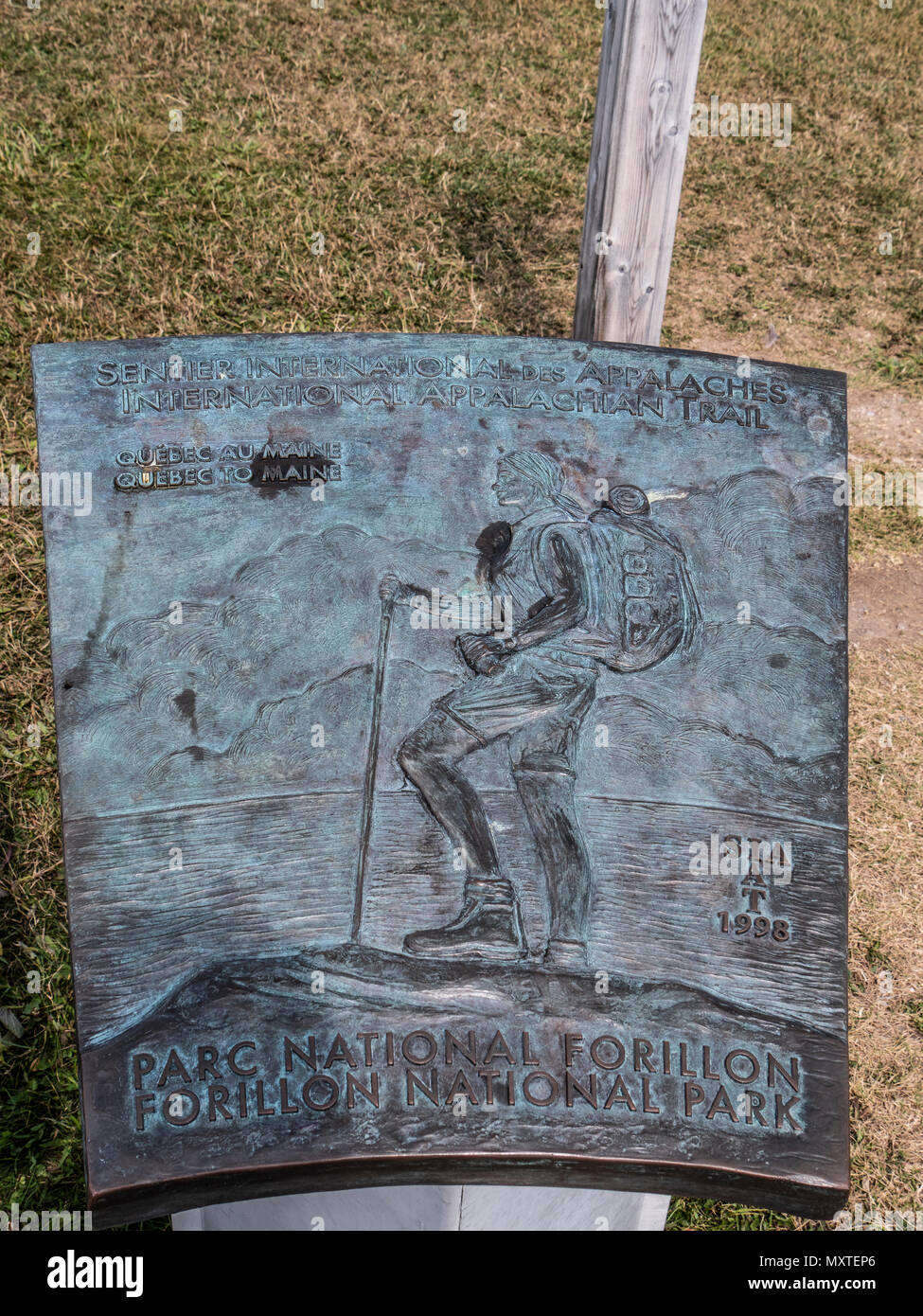 Appalachian Trail plaque at Cap-Gaspe, Le Graves Trail, Forillon National Park, Gaspe Peninsula, Canada. - Stock Image
