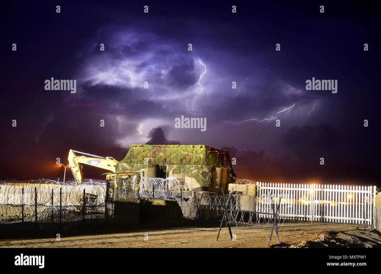 Lightning Storm Above Camp Malakal - Stock Image