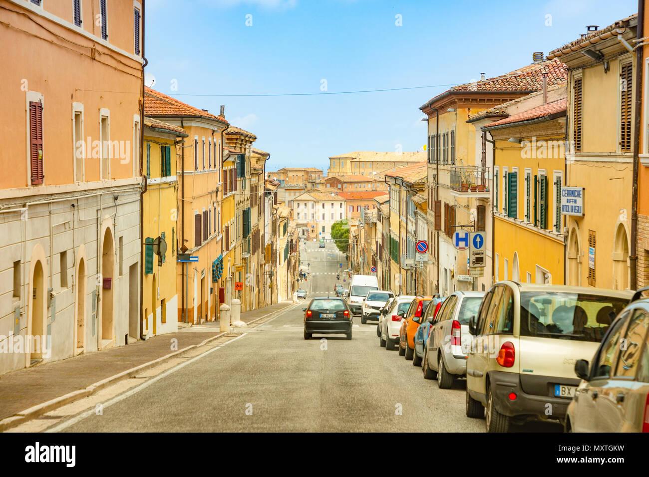 Loreto, Ancona, Italy - 8.05.2018: The central street of Loreto to Basilica of Santa Casa with people and cars, Italy - Stock Image
