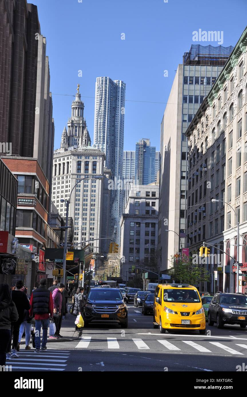 Streets of downtown Manhattan, NYC - Stock Image
