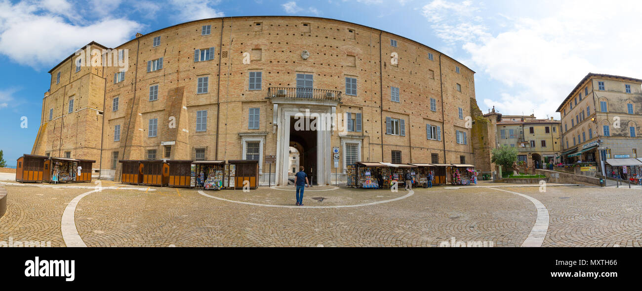 Loreto, Ancona, Italy - 8.05.2018: Panorama of The central street of Loreto to Basilica of Santa Casa with people and cars in Italy - Stock Image