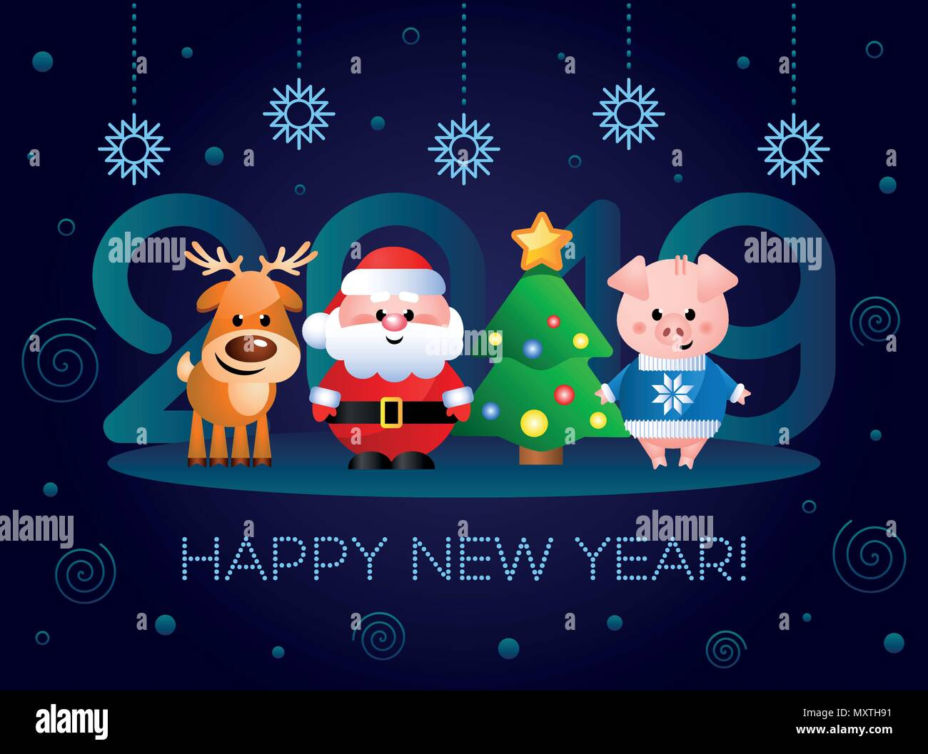 Happy New Year 2019 Greeting Card With Cute Cartoon Characters