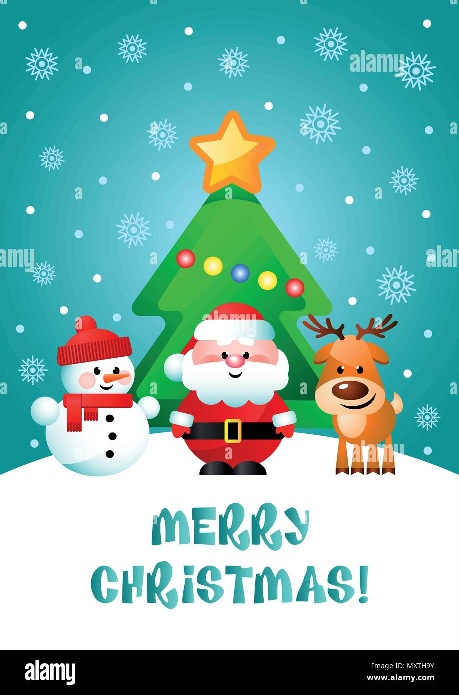 Merry Christmas Greeting Card With Cute Cartoon Characters Santa