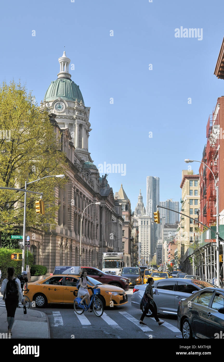 View of Centre St and Broome St in Little Italy, Manhattan, NYC - Stock Image