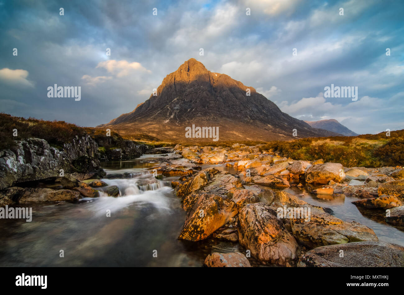 An Early morning view of  Buachaille Etive Mor from  The River Coupal. Glencoe Scotland. - Stock Image