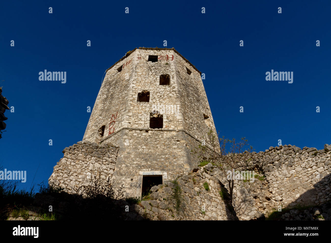 The Kula, overlooking the remains of Počitelj, a UNESCO-protected town, Federation of Bosnia and Herzegovina. Stock Photo