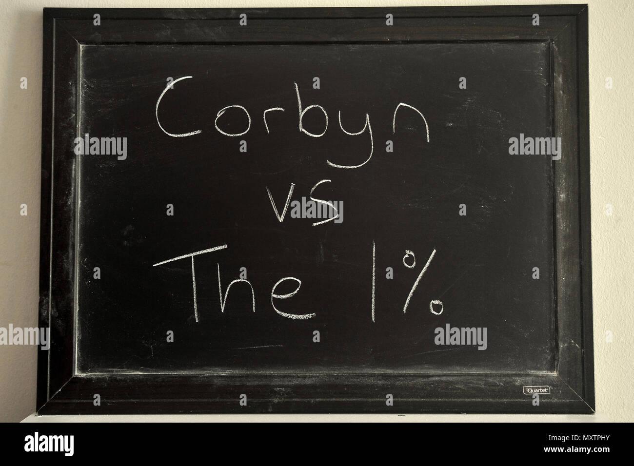 Corbyn vs The 1% written in white chalk on a blackboard. - Stock Image