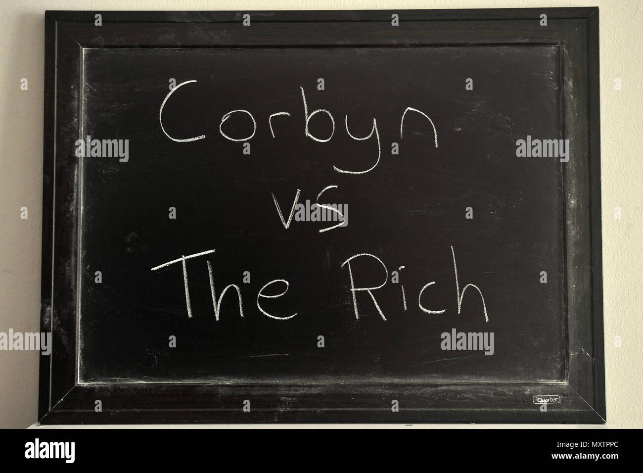 Corbyn vs The Rich in white chalk on a blackboard. - Stock Image