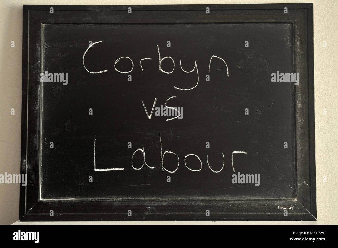 Corbyn vs Labour written in white chalk on a blackboard. - Stock Image
