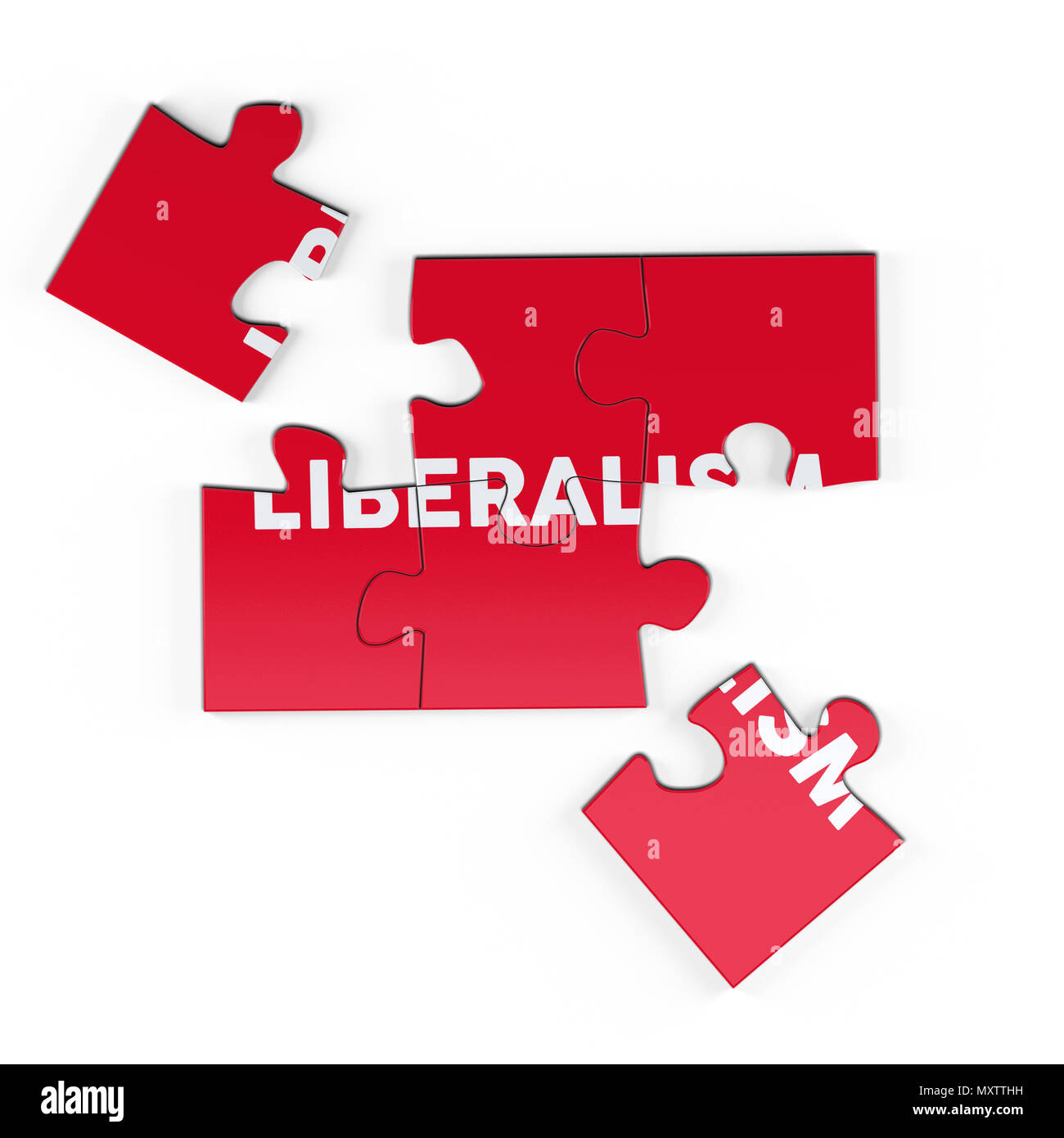 Realistic red six pieces of jigsaw puzzle with Liberalism text on isolated white background. 3D rendering. - Stock Image