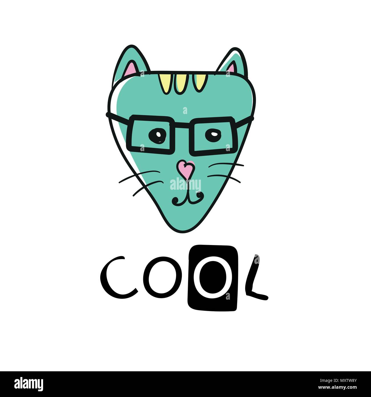 Cool Cat Slogan And Face Cat Vector Cute Cat Face Hand Drawing
