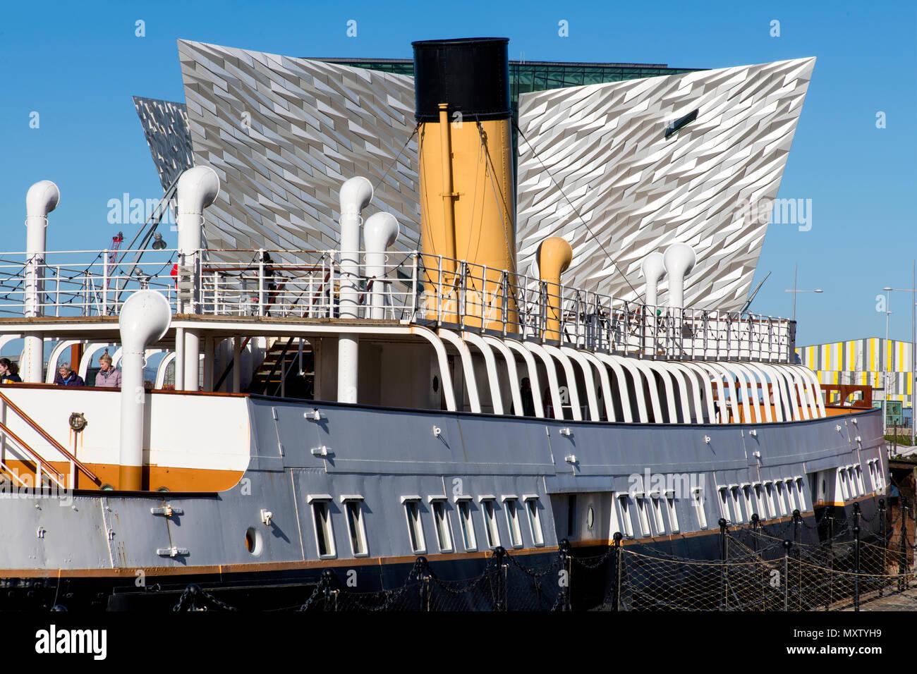 The Nomadic ships docked at Titanic Belfast exhibition Stock Photo