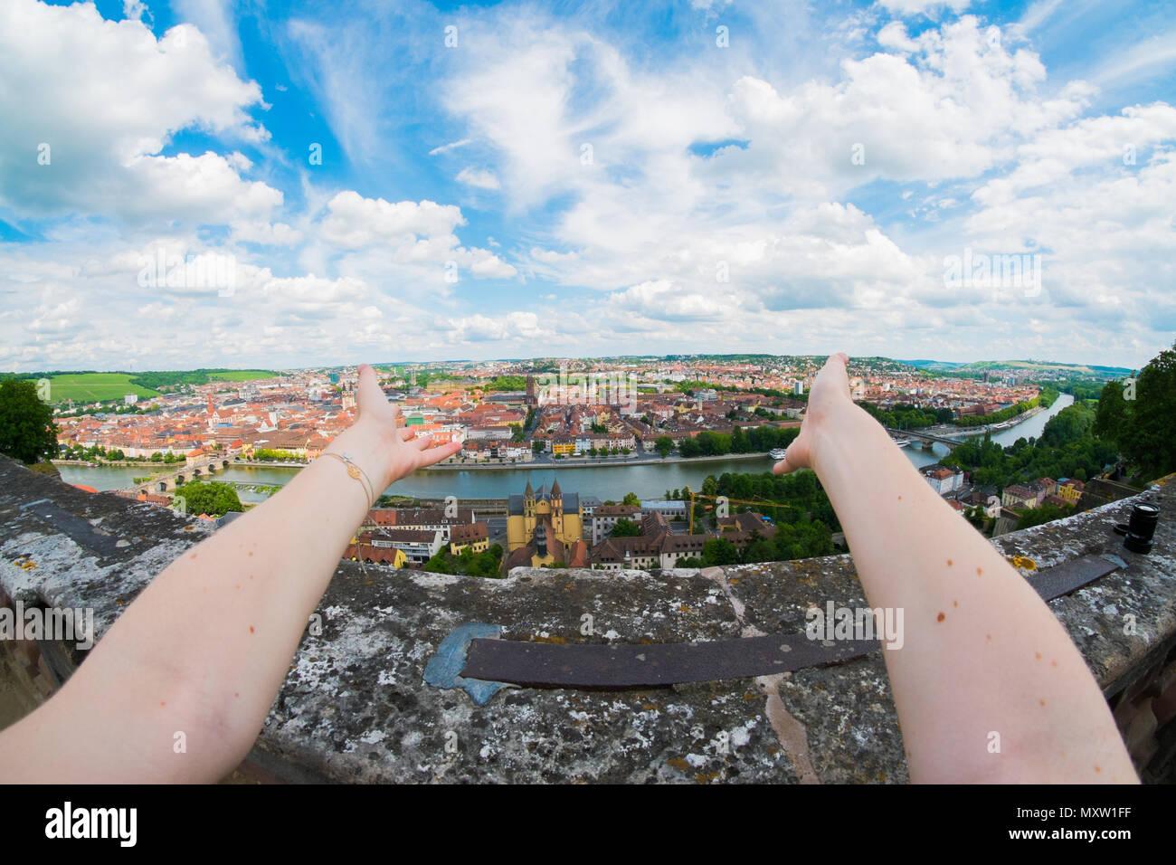 View over Würzburg, Bavaria, Germany Stock Photo