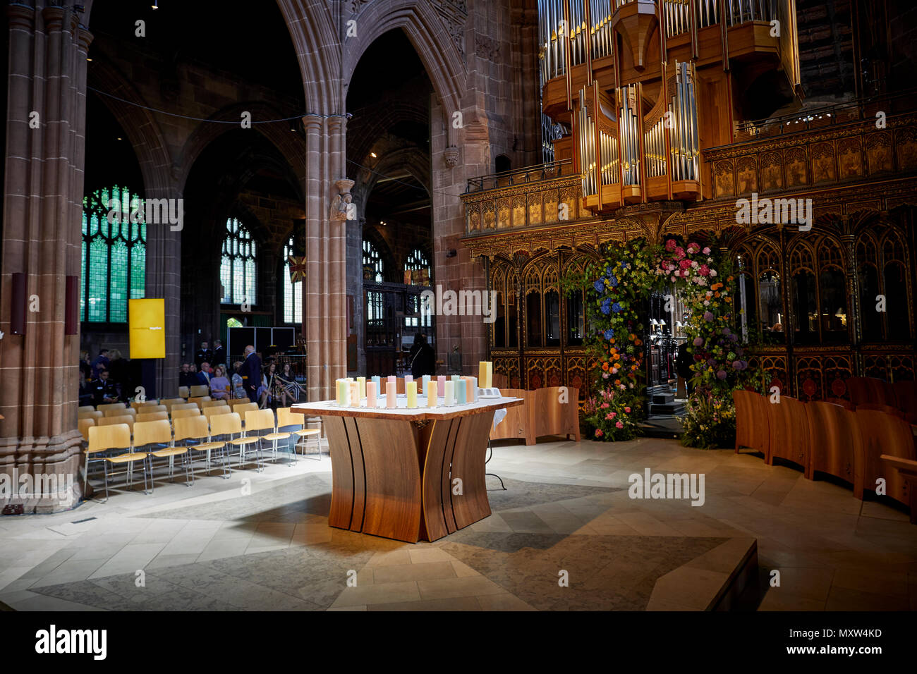 Manchester Arena terror attack 1 year anniversary 22 Candles inside the cathedral for each victim - Stock Image