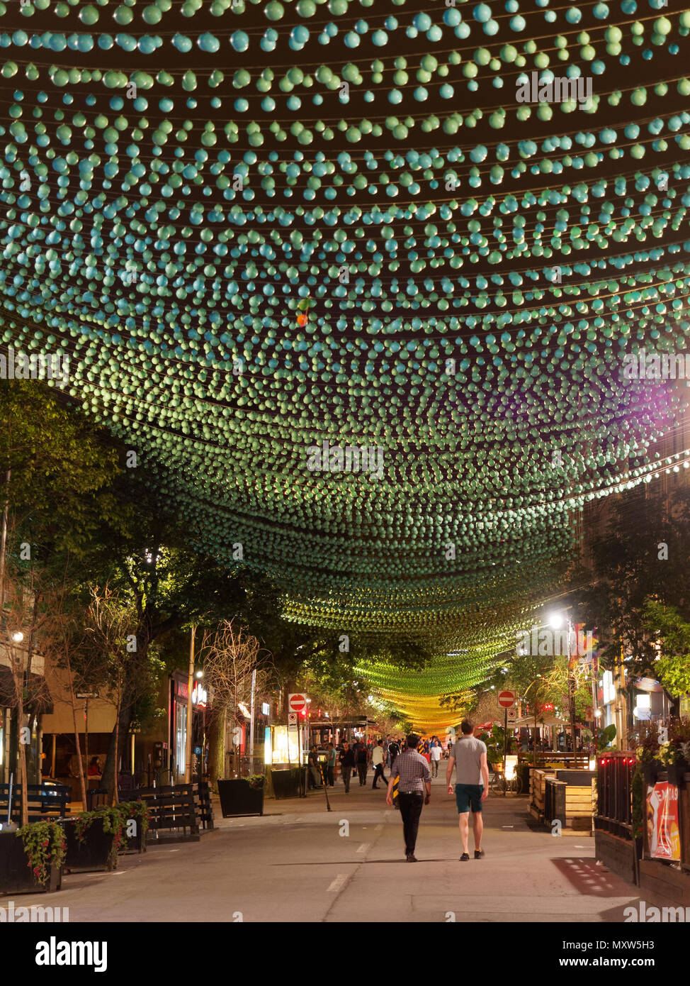 Quebec,Canada. St. Catherine street in Montreal's Gay Village at night - Stock Image