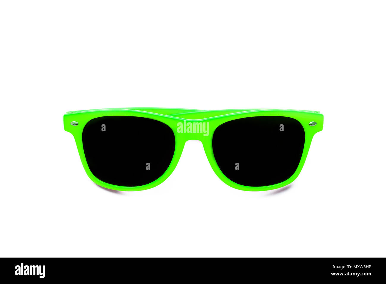 Summer green sunglasses isolated in seamless white background. Minimal design element for sun protection, hot days, tropical travel, summer vacations  - Stock Image