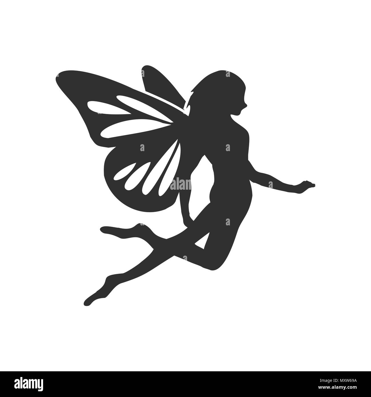 Flying Fairy Silhouette Vector Character Graphic Logo Design Stock Vector