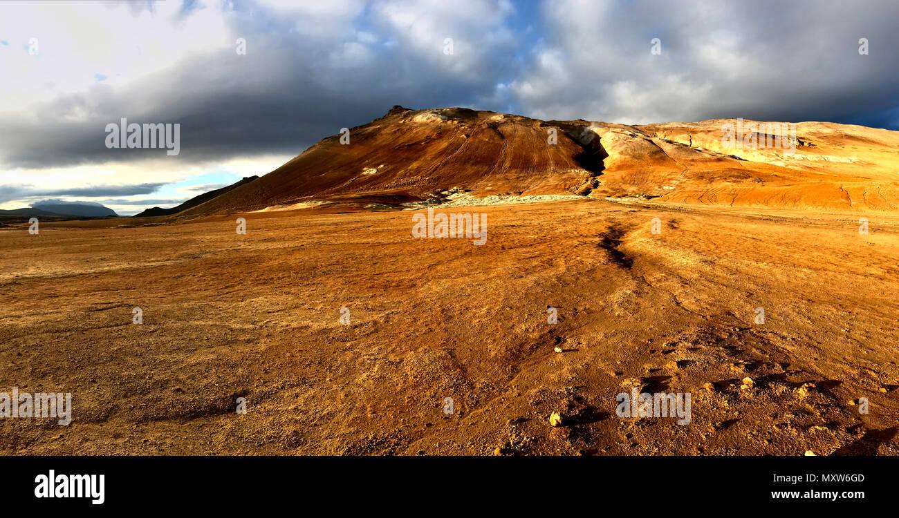 Barren volcanic landscape of Hverir Iceland - Stock Image