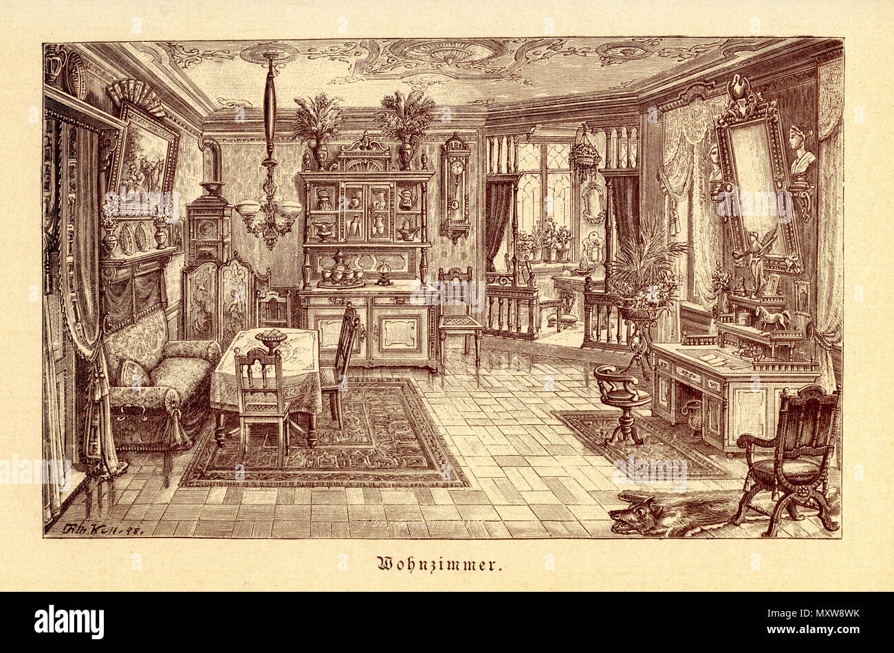 Common Living Room Of The 19th Century, 1900