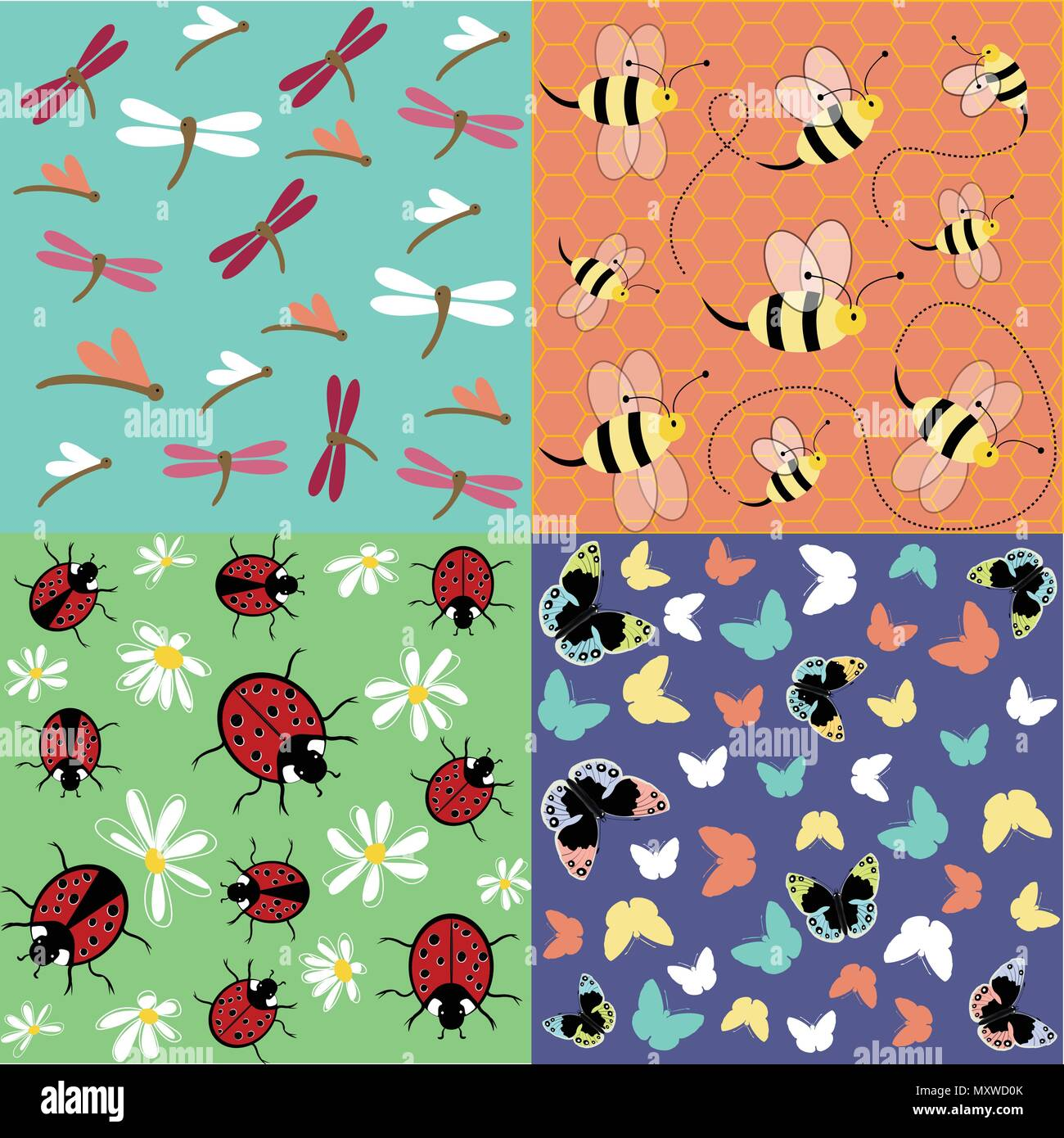 Insects seamless pattern set Stock Vector
