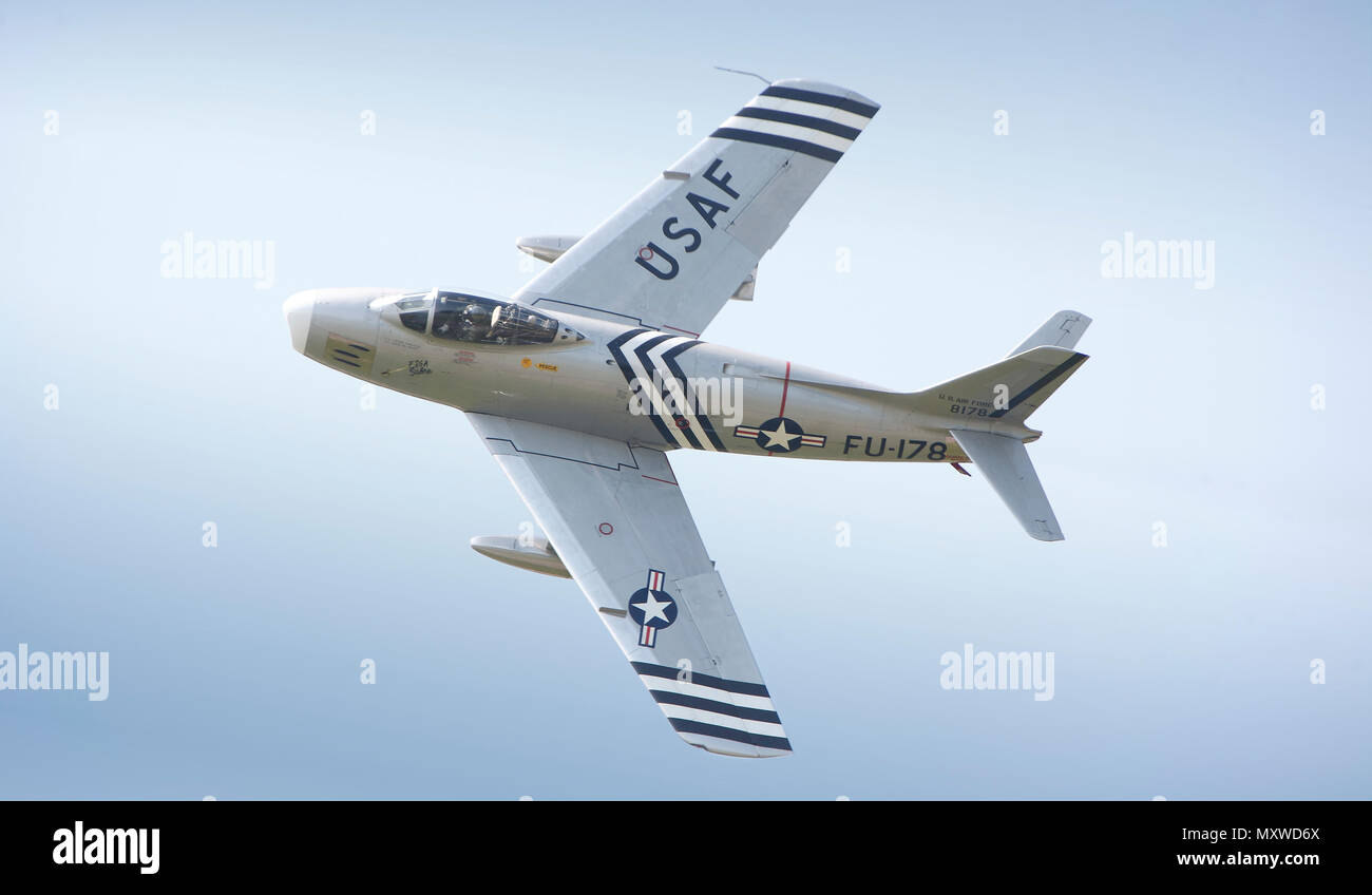 North American F 86A Sabre swept wing jet fighter airplane in flight during the Biggin Hill Air Show at the famous wartime airfield in Kent, England. 2008 - Stock Image