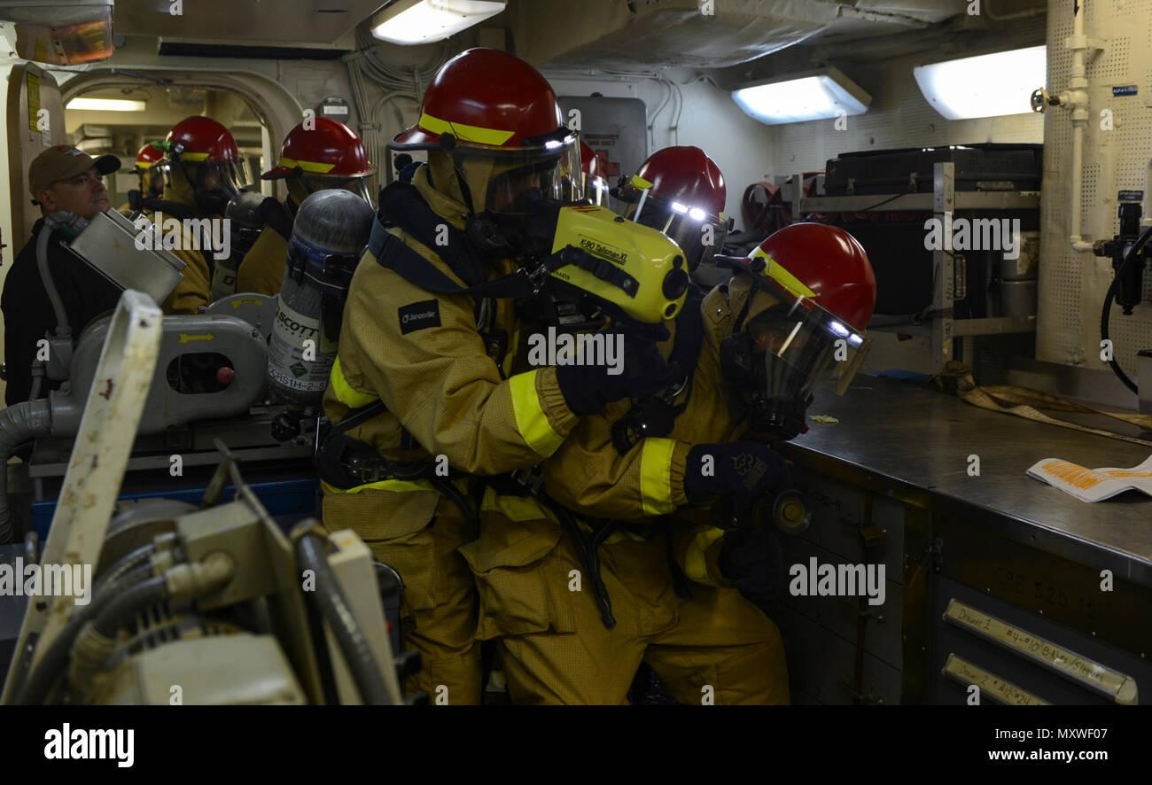 atlantic ocean dec 11 2016 sailors combat a fire during a