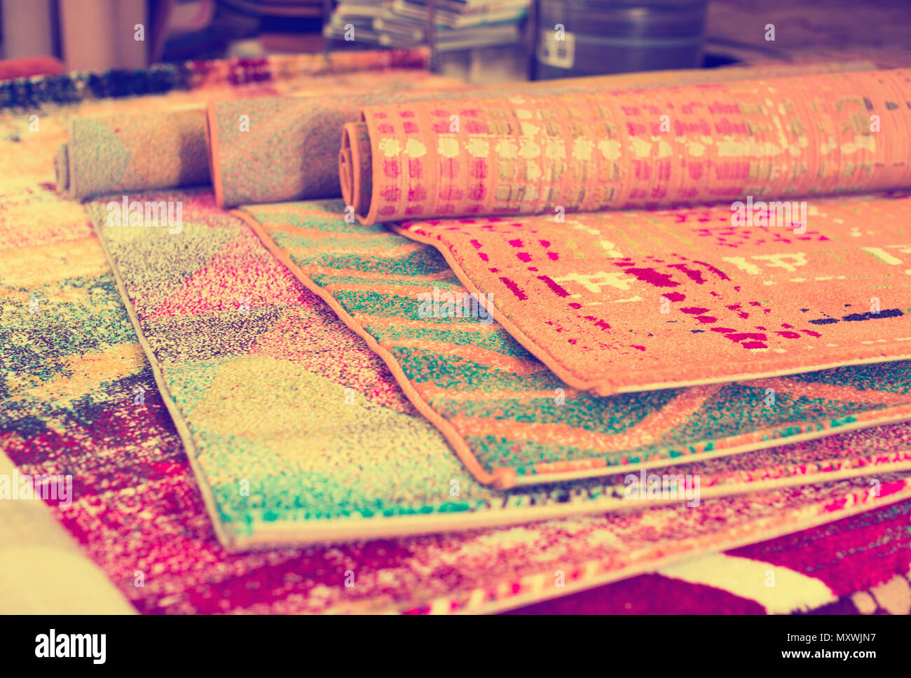 Various Colorful Wool Rugs For Sale At Store No People Stock Photo