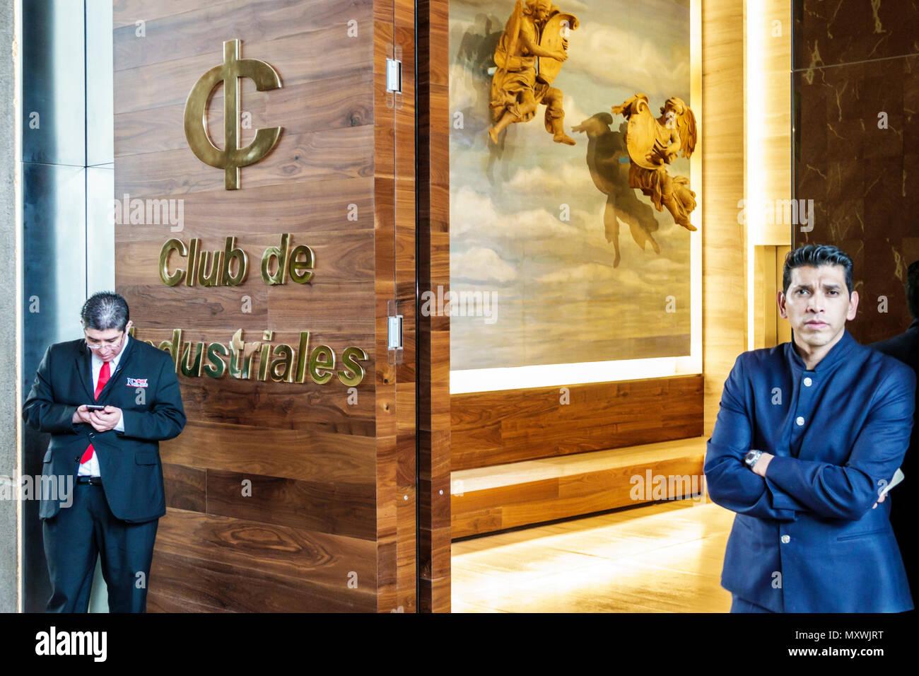 Mexico Mexico City Ciudad de Federal District Distrito DF D.F. CDMX Hispanic Mexican Polanco JW Marriott hotel Club de Industriales Industrialists Club private club members-only entrance doorman North America American - Stock Image